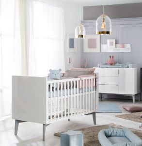 Roba 'Retro 2' 2-tlg. Kinderzimmerset, weiß, aus Kombi-Kinderbett 70x140 cm und Wickelkommode