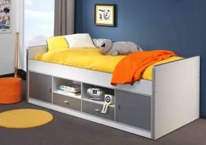 Bonny Kojenbett Jugendbett Bettgestell Kinderbett Bett 90 x 200 cm Weiß / Silbergrau, inkl. Matratze Soft und Lattenrost 13 Leisten