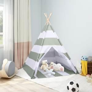 vidaXL Kinder Tipi-Zelt Tasche Pfirsichhaut Gestreift 120x120x150 cm