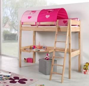 Relita 'RENATE' Multifunktionsbett mit Schreibtisch Buche Stoffset Pink/Herz inkl. Matratze