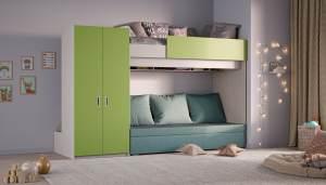 Hochbett mit Schlafsofa und Kleiderschrank, grün