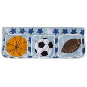 Betttasche Stofftasche Hochbett Bettzubehör Tasche Kinderbett Blau Fußball
