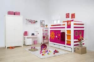 Hoppekids 'Premium' Etagenbett gerade Leiter, 90 x 200 cm, inkl. Lattenroste und extra Schutzvorrichtung