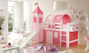 Hochbett mit Rutsche und Turm Spielbett Toby Buche massiv Weiss teilbar mit Farbauswahl Rosa Pink 2 teilig