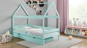 Kinderbettenwelt 'Home Plus' Hausbett 80x160 cm, türkis, Kiefer massiv, mit Schublade und Matratze