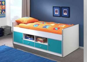 Bonny Kojenbett Jugendbett Bettgestell Kinderbett Bett 90 x 200 cm Weiß / Türkis, Matratze Basic und Lattenrost 13 Leisten