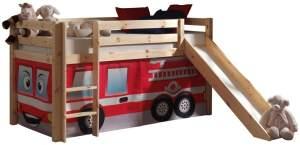 Pino Hochbett Natur lackiert 90x200 cm Feuerwehr, inkl. Matratze Soft
