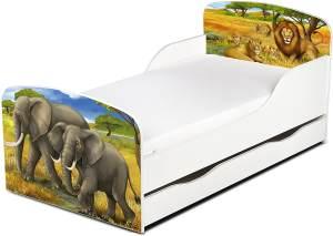 Leomark Kinderbett 70x140 cm, Afrika, mit Matratze, Schublade und Lattenrost