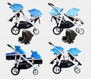 Babyfivestar Geschwisterwagen Blau / Schwarz inkl. zwei Babyschalen