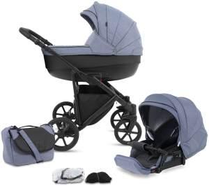 Knorr Baby Kombikinderwagen 2in1 'MADEIRA' in Blau, inkl. Babywanne, Sportsitz, Wickeltasche, Regenschutz