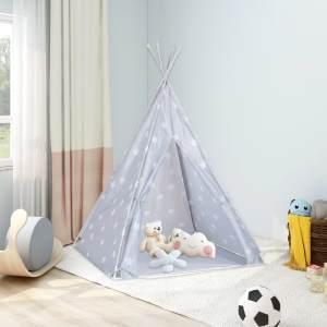 vidaXL Kinder Tipi-Zelt mit Tasche Polyester Grau 115x115x160 cm