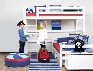 Hoppekids 'Premium' Hochbett weiß, mit gerader Leiter, inkl. extra Einzelbett und Lattenroste