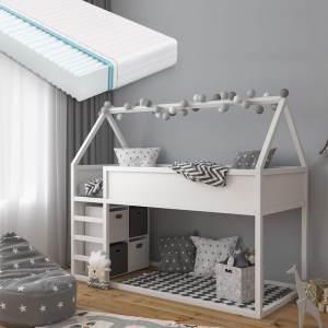 VitaliSpa 'Pinocchio' Haus-Hochbett, Weiß, inkl. Matratze und Lattenrost, 90x200 cm, Erle massiv