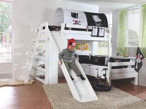 Relita 'SKY' Etagenbett Kinderbett mit Rutsche weiß, Stoffset 'Pirat' inkl. 2 Matratzen