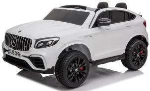 ES Toys Kinder Elektroauto 'Mercedes GLC63S', weiß, Doppelsitzer mit Fernsteuerug