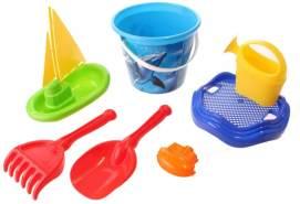 Happy People Strandspielzeug-Set Eimer 24 cm 7-teilig blau