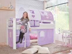 Relita Halbhohes Spielbett ALEX Buche massiv weiß lackiert mit Stoffset purple/weiß/herz