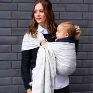 LIMAS | Ring Sling | Geburt bis Kleinkindalter | Bauch- und Hüfttrageweise | diagonal gebundenes Tragetuch Blanca