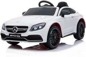 """Kinder Elektro Auto Mercede Kinderauto C63 Amg Eva Leder Led Usb Mp3 Weiss"""