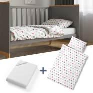 VitaliSpa 'Rosa Sterne' 3-tlg. Kinderbettwäsche-Set 140x70cm