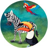 """Kinderteppich- """"Lovely Kids"""" Tiere im Wald in drei Größen, Spielteppich, Kinderzimmer 100 x 100 cm Rund"""
