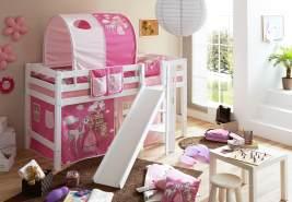 Ticaa 'Tino' Halbhochbett weiß, inkl. Vorhang 'Horse' pink