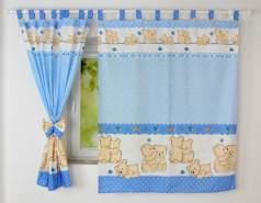 BabyLux 'Teddybären' Vorhänge mit Schlaufen, blau