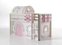 Vipack 'Pino' Spielbett weiß, mit Vorhang, Tunnel und 3 Taschen 'Birdy'