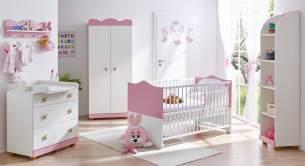 Ticaa 'Milan' 5-tlg. Babyzimmer-Set, rosa/weiß, aus Bett 70x140 cm, Wickelkommode, Wandregal, Kleiderschrank und Standregal