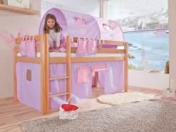 Relita Halbhochbett Spielbett ALEX-13 Buche massiv natur lackiert mit Stoffset purple/rosa/herz