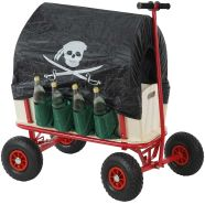Bollerwagen Handwagen Leiterwagen Oliveira inkl. Sitz, Bremse, Flaschenhalter, Dach Pirat schwarz
