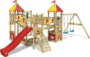 WICKEY 'Spielturm Ritterburg Smart Queen' mit Schaukel & blauer Rutsche, Spielhaus mit Sandkasten, Kletterleiter & Spiel-Zubehör