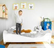 Alcube 'White Swing' Kinderbett 160 x 80 cm mit Rausfallschutz inkl. Lattenrost und Matratze, weiß