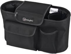 babyGO Kinderwagen Organizer Buggy - Kinderwagentasche mit Getränkehalter - ideal geeignet als Aufbewahrungstasche/Wickeltasche - Kinderwagenbefestigung Organizer Schwarz