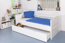 Kinderbett/JugendbettEasy Premium Line K1/s Voll inkl. 2. Liegeplatz und 2 Abdeckblenden, 90 x 200 cm Buche Vollholz massiv weiß lackiert