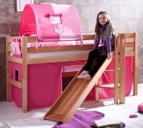 Relita 'Eliyas' Spielbett, Natur, 90x200 cm, inkl. Stoffset 'Pink/Herz' und Matratze