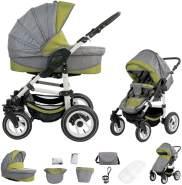 Bebebi Florenz | Luftreifen in Weiß | 2 in 1 Kombi Kinderwagen | Luftreifen | Farbe: Medici Green White