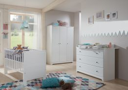 Arthur Berndt 'Thilo' Babyzimmer Komplettset 3-teilig, Kinderbett (70 x 140 cm), Wickelkommode mit Wickelaufsatz und Kleiderschrank MDF Weiß