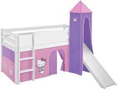 Lilokids 'Jelle' Spielbett 90 x 190 cm, Hello Kitty Lila, Kiefer massiv, mit Turm, Rutsche und Vorhang