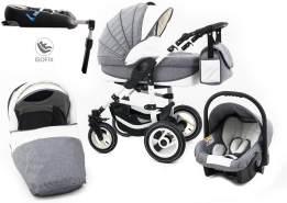 Tabbi ECO LN | 4 in 1 Kombi Kinderwagen | Hartgummireifen | Farbe: Grey