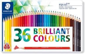 Staedtler - ergosoft 157 M36 Buntstifte erhöhte Bruchfestigkeit, dreikant, Set mit 36 brillanten Farben