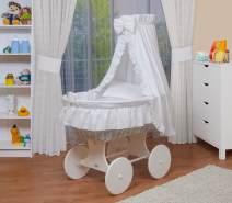 WALDIN Stubenwagen-Set mit Ausstattung Gestell/Räder weiß lackiert, Ausstattung weiß
