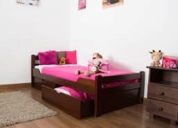 Kinderbett/Jugendbett'Easy Premium Line' K1/2n inkl. 2 Schubladen und 2 Abdeckblenden, 90 x 200 cm Buche Vollholz massiv Dunkelbraun