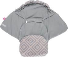 MOTHERHOOD Baby Softshell Einschlagdecke für Babyschale, Autositz, Maxi-Cosi, Römer und andere Marken, ideal für Kinderwagen, Fahrradanhänger, Buggy, Quadrate apricot