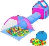 Tectake - Spielzelt mit Tunnel, 200 Bällen und Tasche blau