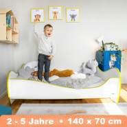 Alcube 'Swinging Yellow Edge' Kinderbett 140x70 cm mit Rausfallschutz, weiß