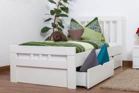 Einzelbett Easy Premium Line K8 inkl. 2 Schubladen, 90 x 200 cm Buche Vollholz massiv weiß lackiert