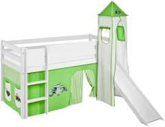 Lilokids 'Jelle' Spielbett 90 x 200 cm, Trecker Grün Beige, Kiefer massiv, mit Turm, Rutsche und Vorhang