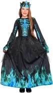 Magicoo Eiskönigin Skelett Kostüm für Kinder Mädchen, Gr. 134-140