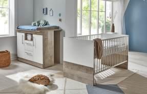 Arthur Berndt 'Selina' Babyzimmer Sparset 2-teilig, Kinderbett (70 x 140 cm) und Wickelkommode mit Wickelaufsatz Platinum Oak / Weiß